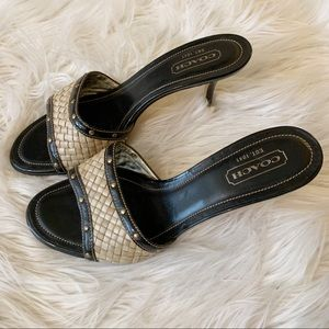 Coach Patent Leather Raffia Studded Mules 9